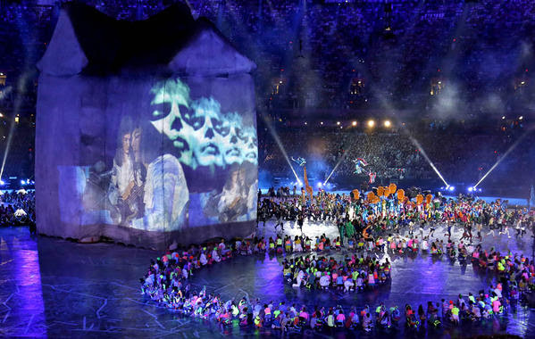 A segment on rock music is part of the festivities at Olympic Stadium.
