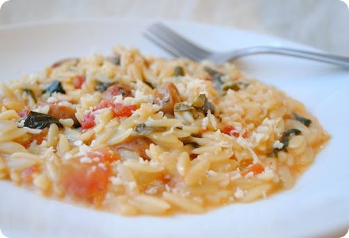 spinach tomato orzotto
