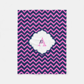 Monogramed Navy-Blue And Pink Zigzag Chevron Fleece Blanket