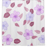 Pink Flowers And Pin Stripes Shower Curtain