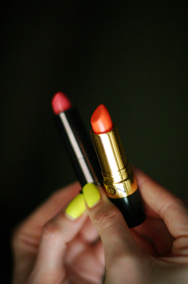 Cover Girl's Lip Perfection Lipstick in Fairy Tale, Revlon Lipstick in Siren, Neon nail polish