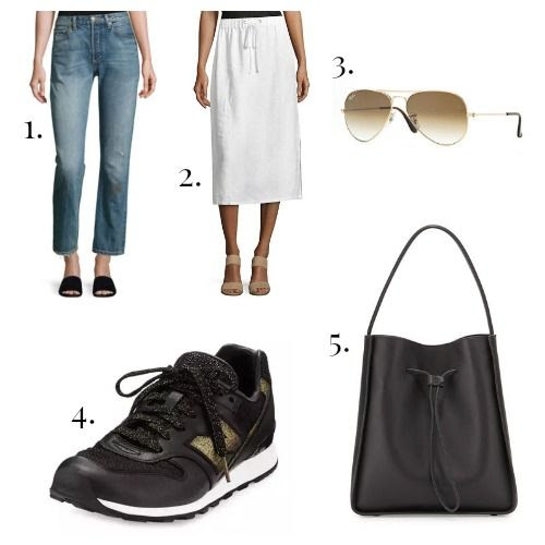 Vince Jeans - Eileen Fisher Skirt - Ray-Ban Sunglasses - New Balance Sneakers - 3.1 Phillip Lim Handbag