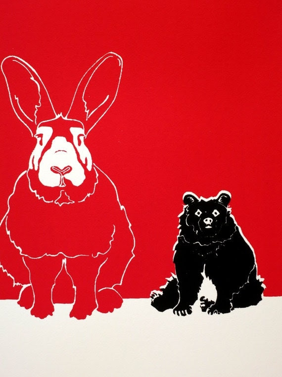Huge Rabbit, Normal Bear - Limited edition, hand-pulled screen print of a rabbit and bear and their relationship, red, black, white