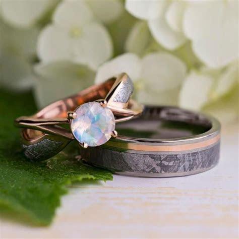 Stellar Rose Gold Wedding Ring Set, Moonstone Engagement