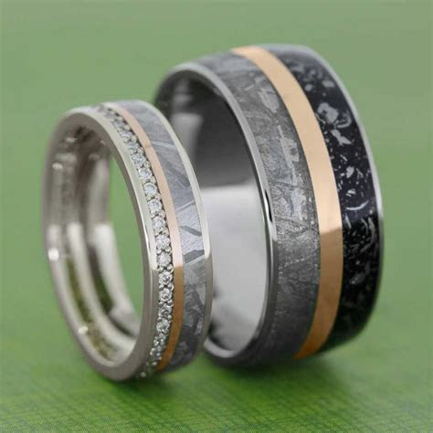 Meteorite Wedding Band Set With Rose Gold Pinstripes