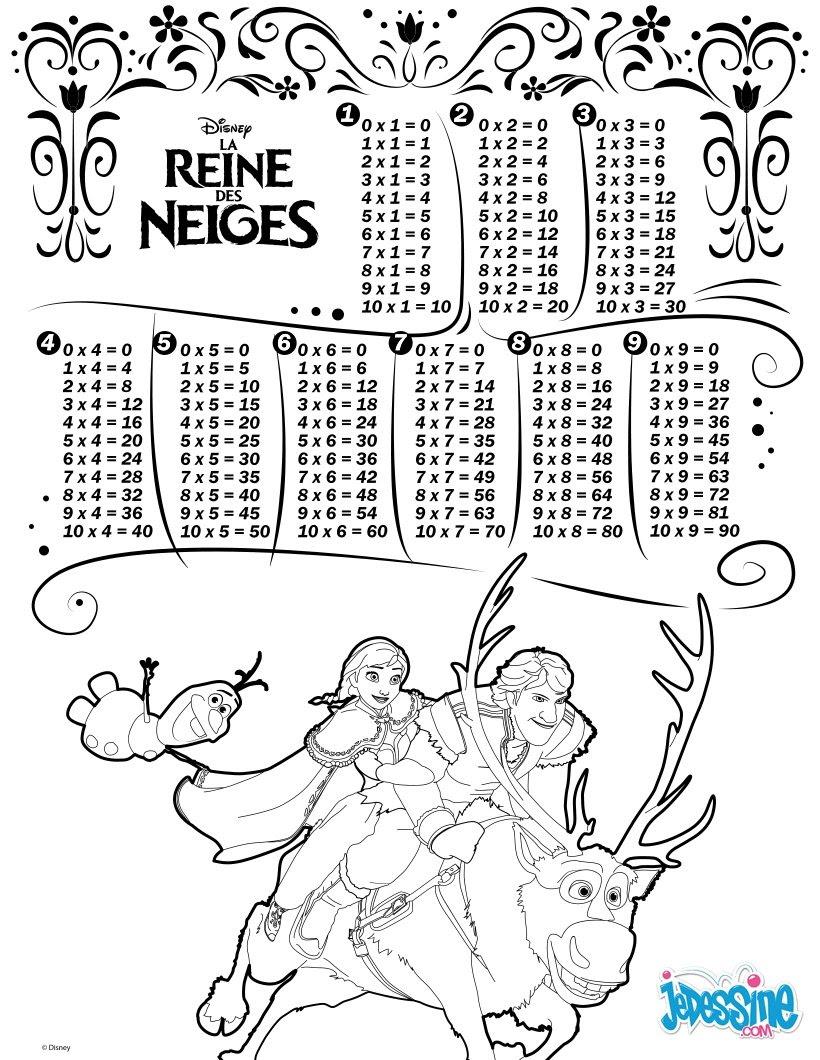 Coloriages tables de multiplication la reine des neiges fr hellokids