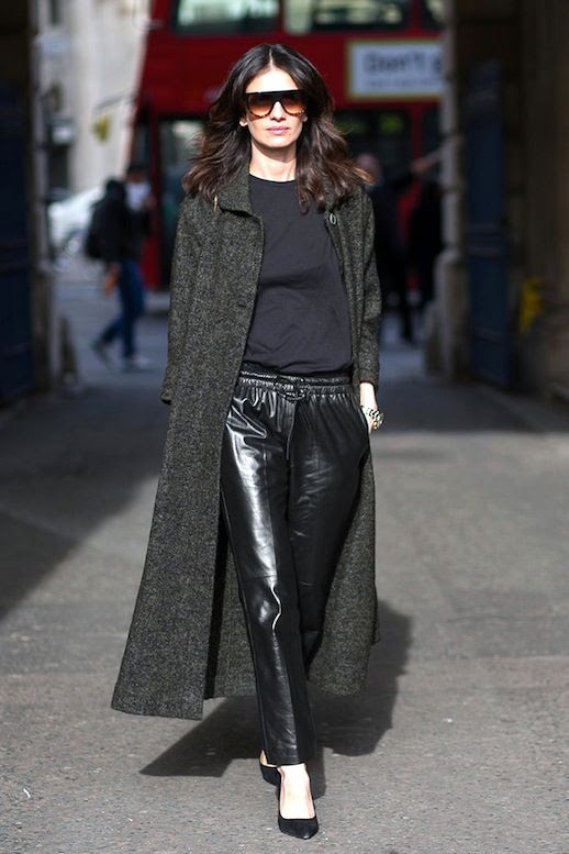 Le Fashion Blog Leila Yavari Street Style Longline Grey Coat Cropped Leather Pants Pumps Via Harpers Bazaar