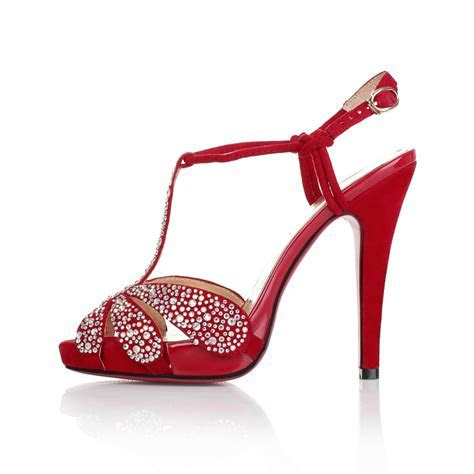 High Heel Sandals Rhinestones Peep Toes Red Wedding Bridal