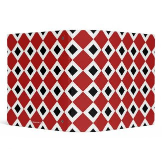 Red, White, Black Diamond Pattern 3 Ring Binders