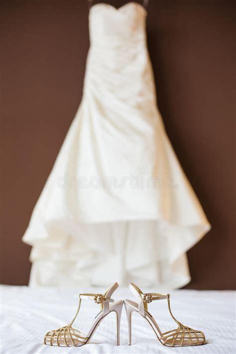 Wedding Shoes And Wedding Dress Stock Photo   Image of