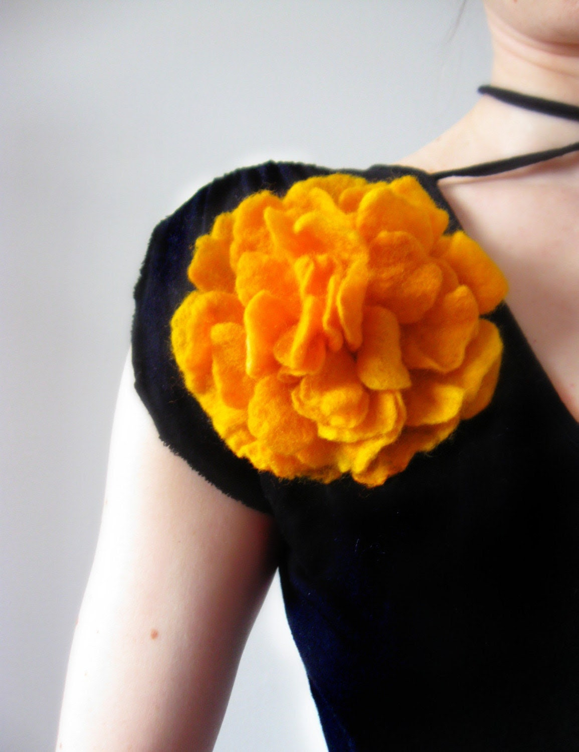 Bright Yellow Flower Brooch - Hand Felted From Wool-Size Large