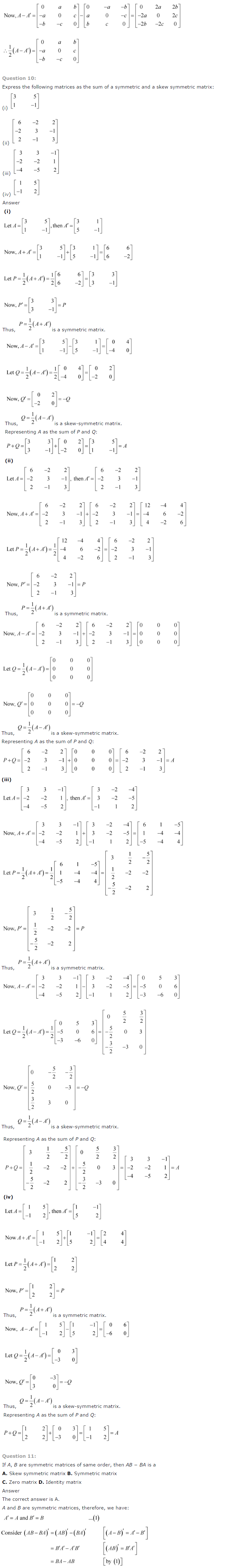 NCERT Solutions for Class 12 Maths Chapter 3 Matrices ex 3.8