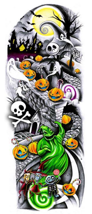 imaginaryenemy-: Nightmare Before Christmas Tattoo Sleeve Design(Full credit