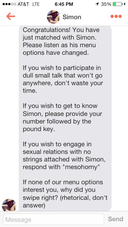 I swiped right because Simon said to.