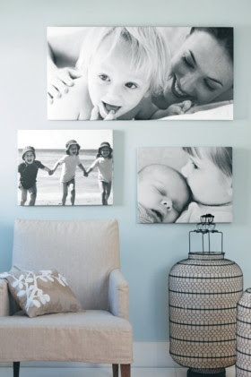 @Odara Lenningblack and white photos this is cute as well to take up wall space or to go over fire place...I need to take a picture of all yall and you put it on canvas to hang up