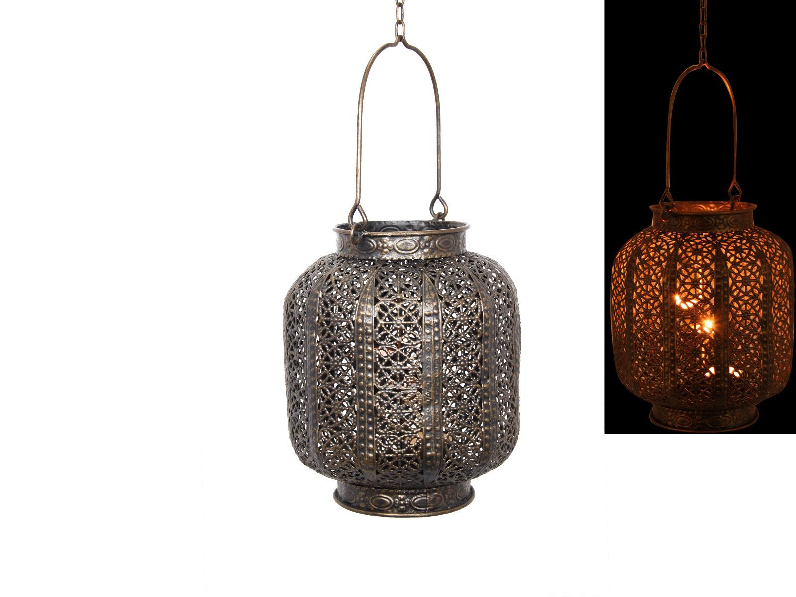 23cm Bronze Metal Hanging Lantern/Candle Holder Moroccan ...
