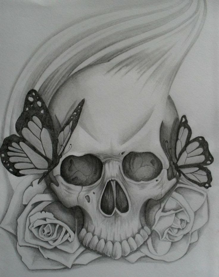 Simple Skull Tattoo Pin Easy Drawings Of Roses And Skulls Clip