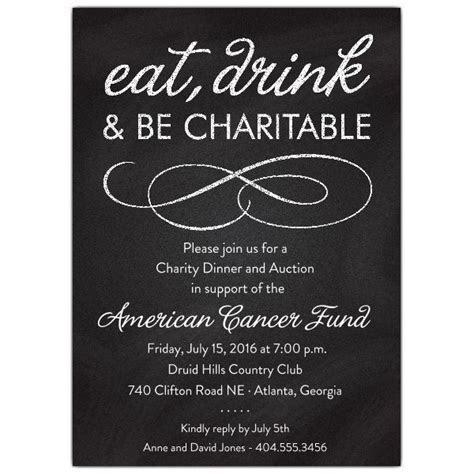 Chalkboard Black Charity Invitations   Winter   Dinner