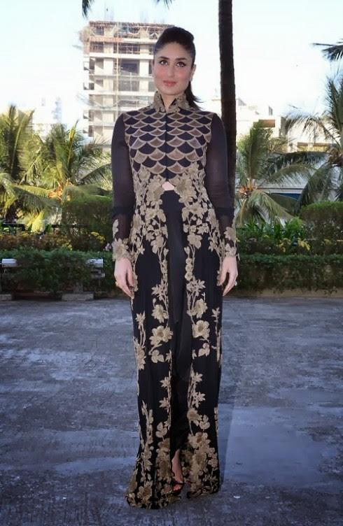 Kareena-Kapoor-Wear-Beautiful-Black-Gold-Churidar-Anarkali-Frock-Dress-by-Designer-Anamika-Khanna-8