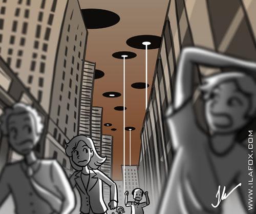 invasão extra-terrestre, ilustração by Ila Fox