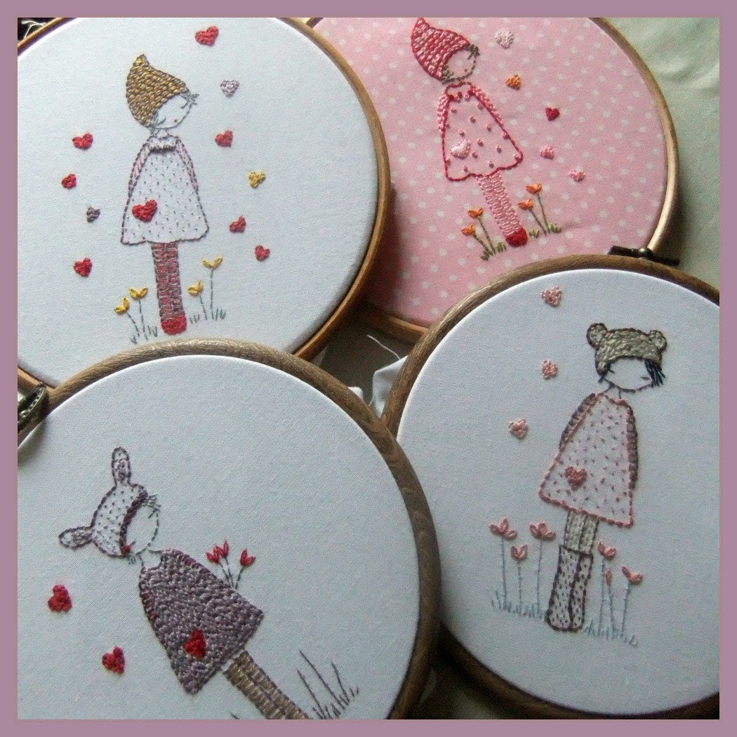 Three girls in hats embroidery pattern PDF - LiliPopo