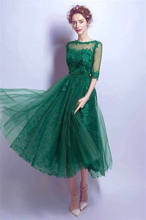 Tea Length Green Lace Prom Dress For Juniors With 1/2