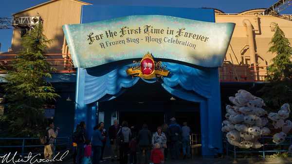 Disneyland Resort, Disney California Adventure, Frozen Fun, Frozen, Hollywood Land, Animation, Building, Muppet Vision 3D, For The First Time In Forever, Sing, Along, Celebration, Crown, Jewel, Theatre