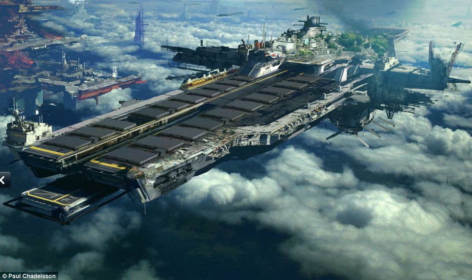 Cities in the sky: Vast prisons and giant airships or modes of transport paint a foreboding vision of the future. Here, a massive ship hovers foreboding above the clouds. Complete with frees and buildings, it is almost like a miniature city