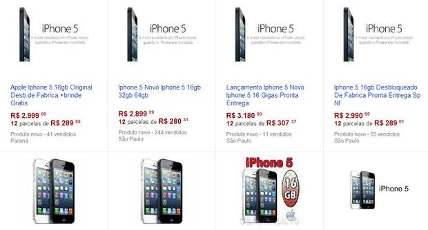 iPhone 5 tem diversas ofertas em site de leilões (Foto: Reprodução)