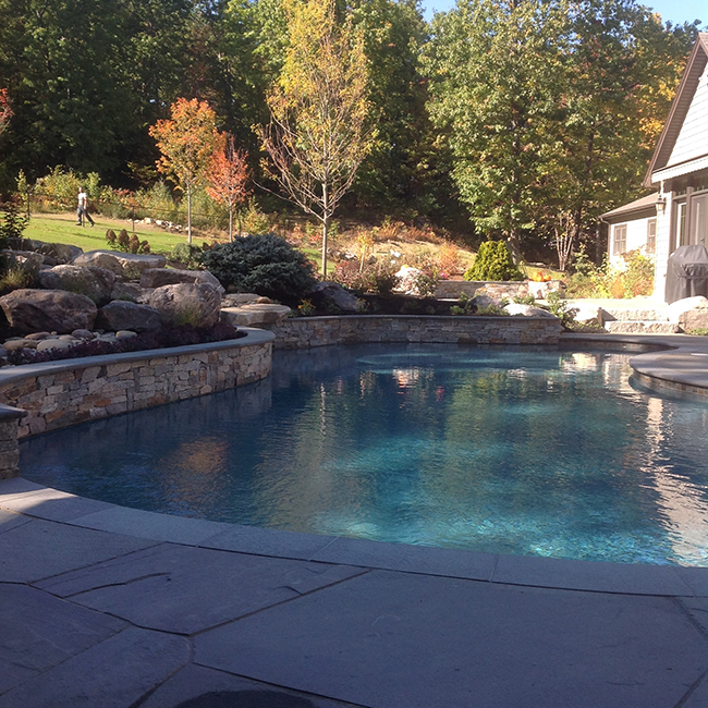 Landscaping Design Project Bow New Hampshire Blends A Pool Patios