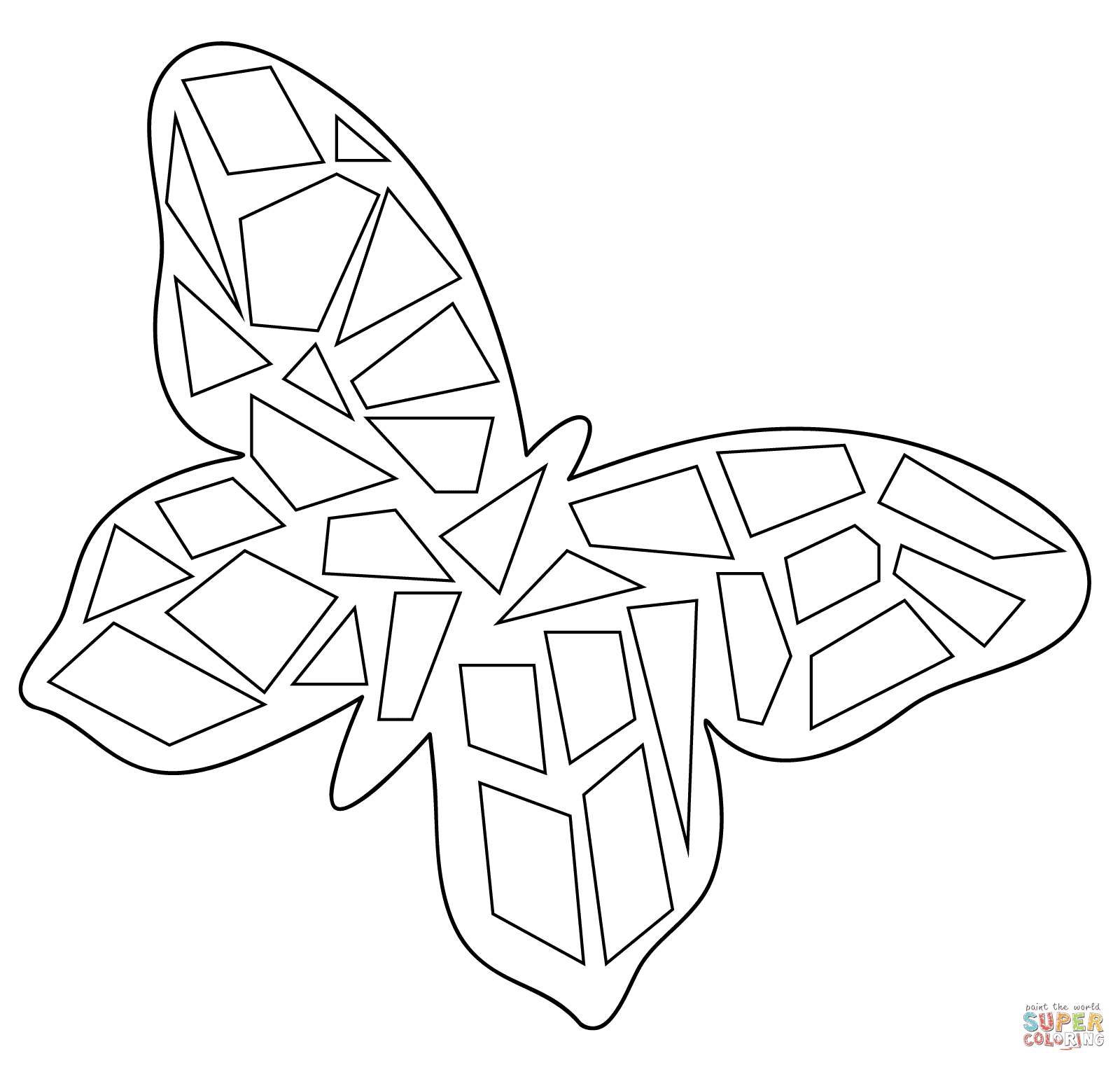 Butterfly Mosaic coloring page | Free Printable Coloring Pages