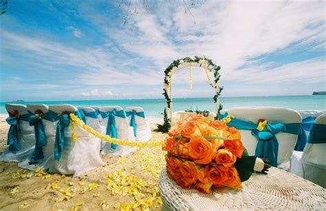 Hawaii butterfly theme wedding  with yellow plumeria on