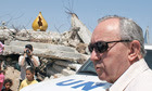 Richard Goldstone on a 2009 visit to a house destroyed during Israel's offensive in Gaza