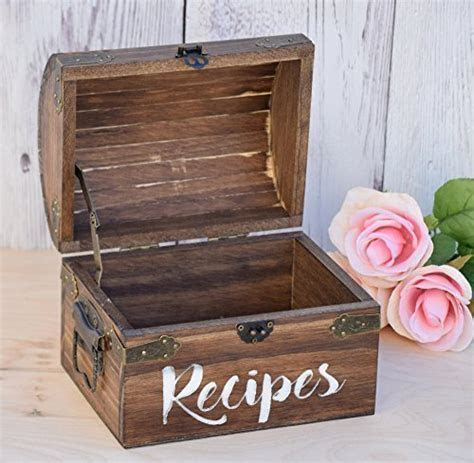 Personalized Recipe Card Box   Personalized Gift   Rustic