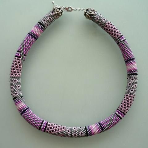 Pink Bead Chrochet Necklace-Pink Necklace-Hapisane İşi Kolye | Nazo design