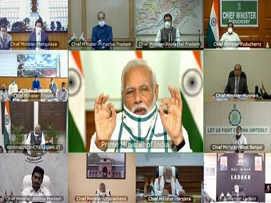 Prime Minister Narendra Modi interacts with Chief Ministers of all States on COVID-19 situation through video conference. ANI