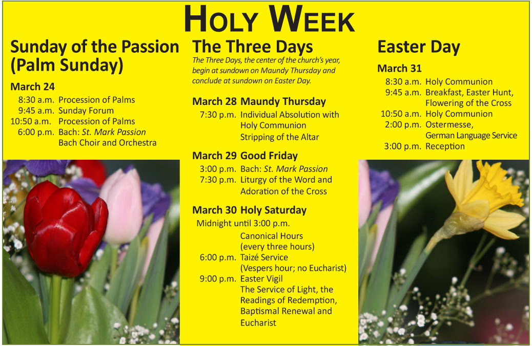 Holy Week And Easter Christ The King Evangelical Lutheran Church