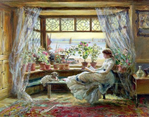 charles james lewis 1880 leyendo en la ventana