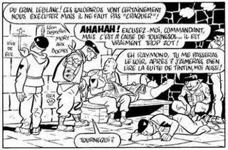 Una vignetta piena di riferimenti vari, ai fascisti dell'epoca, a Leblanc, a Tintin, alla Storia ecc.