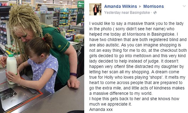 Mother praises Morrisons worker who helped calm her blind autistic daughter