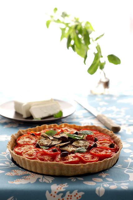 Tomatoes, aubergines and tahini tart