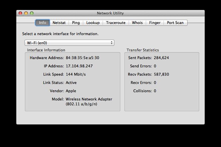 Network Utility window