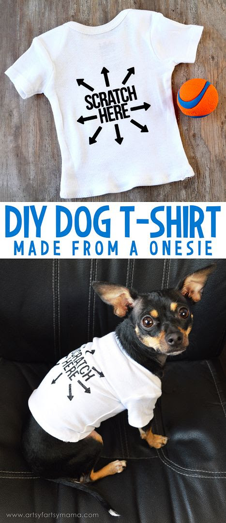 How to make a DIY Dog T-Shirt from a onesie at artsyfartsymama.com