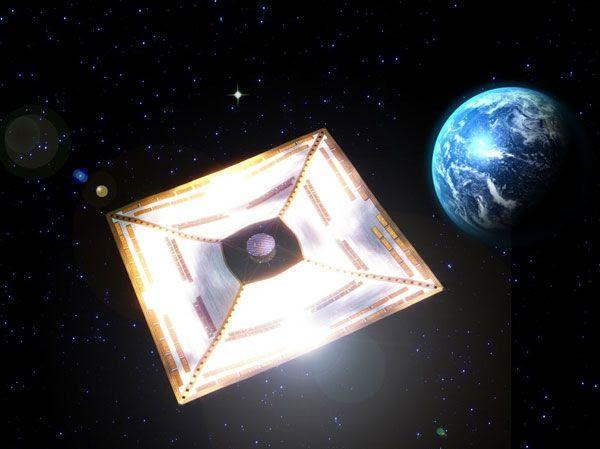 An artist concept of the IKAROS solar sail...floating near Earth.