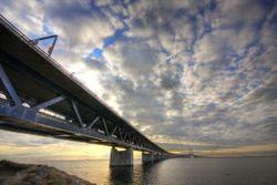 The eight kilometre Øresund bridge leading to Malmö in Sweden
