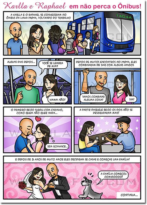 convite em quadrinhos, quadrinhos personalizados, quadrinhos para casamento, quadrinhos, quadrinhos divertidos, casal se conheceu ponto de onibus, by ila fox