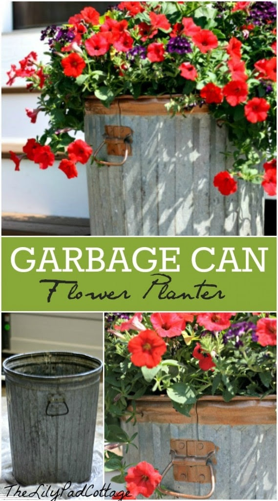 Garbage Can Flower Planter DIY - www.thelilypadcottage.com