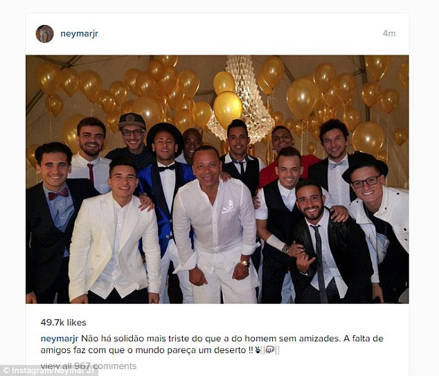Barcelona star Neymar was out with a group of friends to celebrate the end of the year
