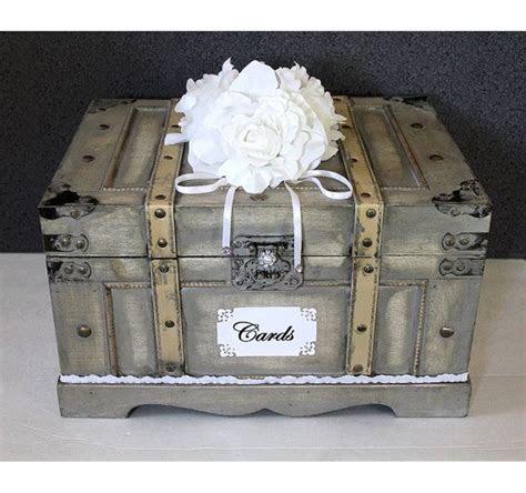 Wooden Wedding Card Box Trunk. Vintage Shabby Chic Finish