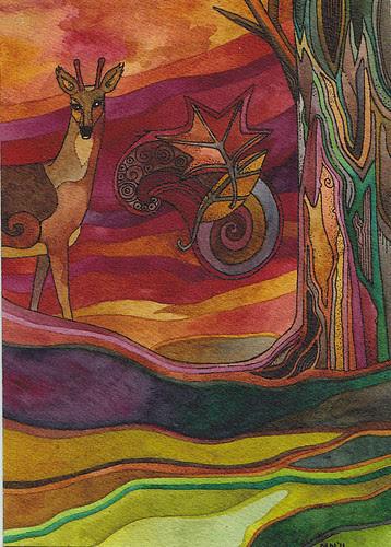 Sunset Deer by megan_n_smith_99